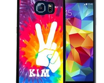 Personalized Rubber Case For Samsung S5, S6, S6 edge, S6 Edge Plus, S7, S7 Edge,  8, 8 plus -  Tie Dye Peace