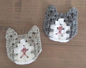 Set of 6 x Crochet Granny square Cat Kitten Appliques, Crochet Cats, embellishment, yarn motif, craft supplies, sewing, scrapbooking, patch