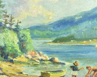 Eugene Beaupré Vintage Antique Landscape Lake Original Oil Painting 19th Century Listed Canadian Artist