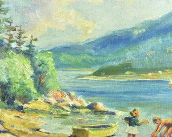 Eugene Beaupré Vintage Antique Landscape Lake Original Oil Painting 19th Century Listed Canadian Artist