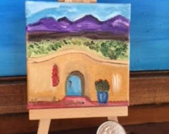 Blue Door with Southwest Mountain Views Mini Oil Painting on Canvas with Wooden Easel