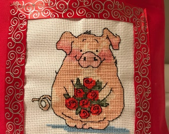 Cross Stitch Pig Totebag