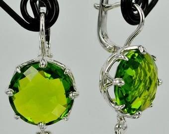 Silver Earrings whith big green stone, Women Silver Jewelry, Jewelry gift
