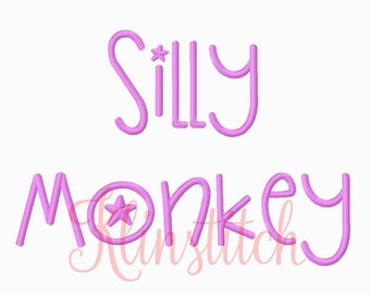 50% Sale!! Silly Monkey Font Embroidery Fonts 3 Sizes Fonts BX Fonts Embroidery Designs PES Fonts Alphabets - Instant Download