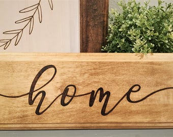 Wood Home Sign, Mini Wood Sign, Engraved Home Sign, Entryway Sign, Door Sign, Calligraphy Sign, Rustic Home Decor, Wood Burned Sign