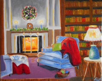 Original lounge cosy in winters-small size - Small oil painting original oil painting of the cozy little lounge in winters.