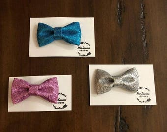 Glitter Bow Hair Clips