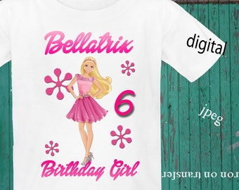 PERSONALIZE, BARBIE, Birthday Shirt Iron On Transfer, Barbie Iron On Transfer, Barbie Image Transfer, Digital File Only, Jpeg