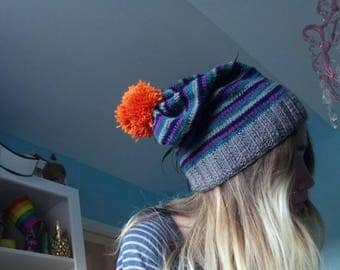 Striped baggy beanie