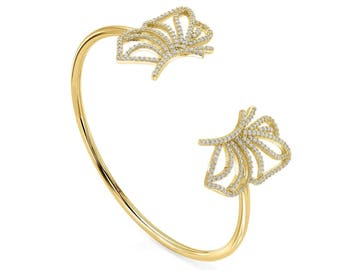 Side butterflies bangle - yellow gold