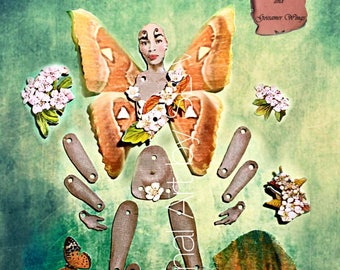 Fall Fairy, Digital Download, paper doll, art doll, brown, gray, articulated, posable