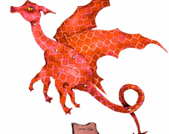 Fire Red Dragon, Digital Download, fairy dragon, paper dragon, art doll, paper doll, articulated, posable, red