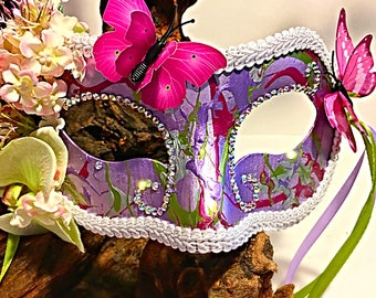 Flutterby, butterfly mask, party mask, Mardi Gras, festival mask, halloween, cosplay mask, nature mask, fairy mask, purple mask, masquerade