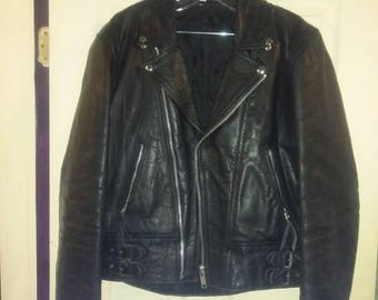 Leather motorcycle jacket. Uk style.