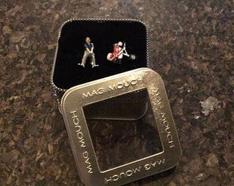 Mag Mouch Golfer and Golf Bag Cufflinks NEW