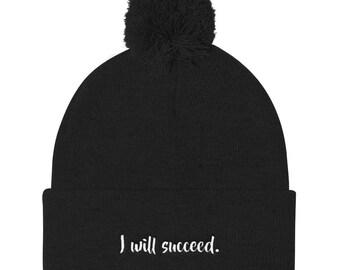 I will succeed Pom Pom Knit Cap