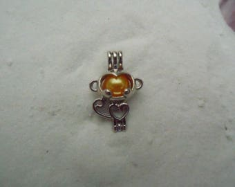 Monkey Pearl Cage Pendant Necklace