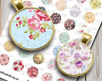 Digital Collage Sheet Floral 1inch Printable Circles Download for pendants, bottle caps and Cabochons