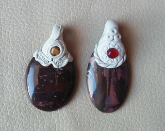 Beautiful 2 Piece Clay Pendant, Gemstones Polymer Clay Design Pendant, Goddess Polymer Clay Pendant Necklace, Handmade Pendant