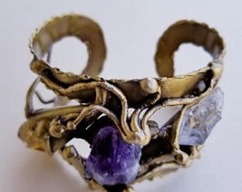 Brass Cuff Bracelet - Daisy with with Amethyst, Citrine and Natural Crystal