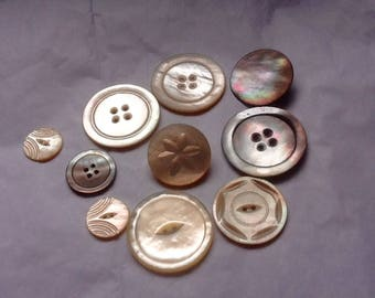 Vintage buttons, mother of pearl
