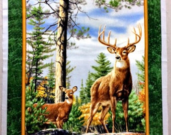 Fabric Panel, Quilting Treasures,  Regal Deer, Buck and Doe in pine woodlands