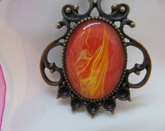 Orange flame with pink shimmer, abstract pendant, wearable art, statement necklace, custom, hand painted, unique gift, gift for her.