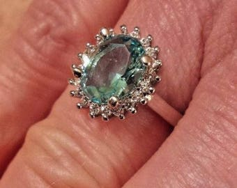 Aquamarine & White Topaz Gemstone Sterling Silver Plated Ring Size - 7