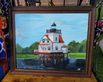 Roanoke River lighthouse Edenton Painting