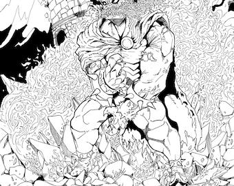 Etrigan the Demon 11x14 ink drawing