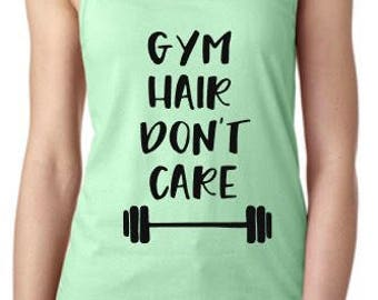 Workout shirt Gym hair Dont care fitness tank top