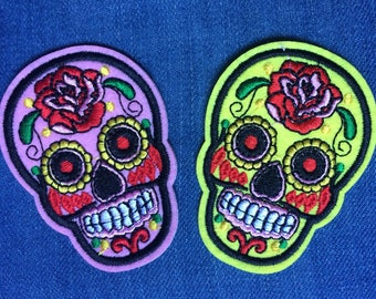 Set of 2 Mexican Calavera skull embroidered iron on patches