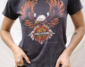 Rare vintage Harley Davidson tee Paper thin biker chick motorcycle shirt