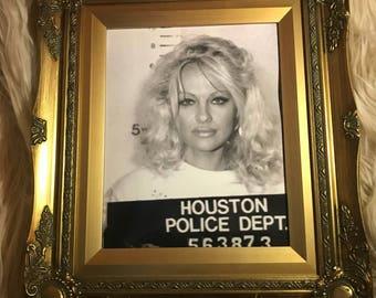 Gold Framed Pamela Anderson Mug Shot