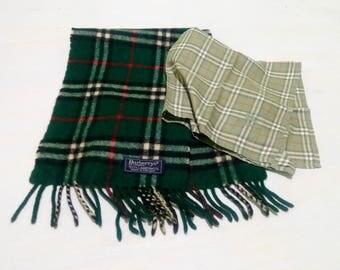 Sale !! Burberrys Green Scarf & Handkerchief Nova Check Burberrys Scarf Handkerchief
