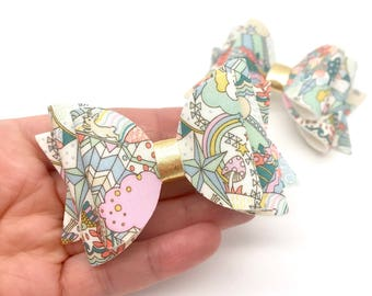 Liberty fly a kite blooms flowers floral fabric Medium hair bow clip headband hair accessories