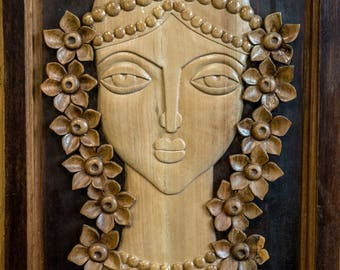 Ttraditional Bulgarian girl Wood carved home decor Wooden wall panel Hand carved wall Art woman Wooden gift Anniversary Wooden decoration