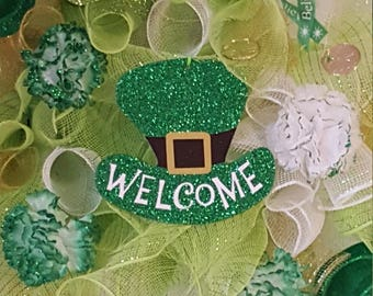 St. Patrick's Day Welcome Wreath, Patty's Day Wreath, Clovers, Green