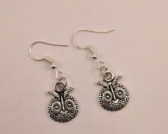 Silver Owl Head Dangle Earrings, Small, Round, Antiqued