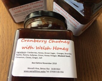 Cranberry Chutney with Honey, Made in Wales