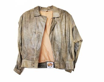 Vintage Leather Jacket outerwear jacket brown leather 80's