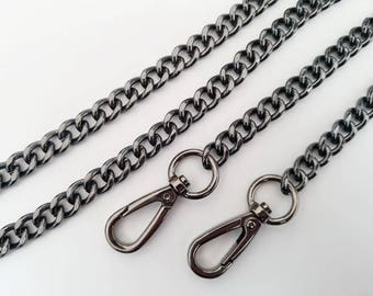gunmetal chain strap purse strap bag handbag strap handles Crossbody chain links Replacement Chain Strap finished chain width 10mm 1pcs