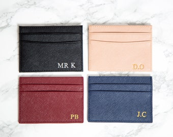 Personalised Card Holder, Customised Credit card holder, saffiano leather, black, blue, nude, burgundy, Monogrammed wallet, initials