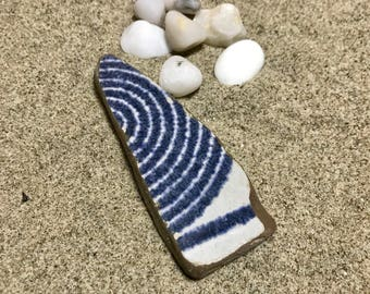 Beach Pottery * Soft Piece Glazed Blue Sea Pottery * Indigo Blue Italian Pottery * Large Striped Pendant Shaped. Collection, Jewelry Mosaics