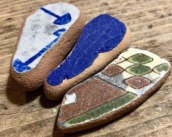 Sea Pottery * 3 Beach Pottery Pieces * Set Patterned Sea Tile Ceramics * Ocean Gift * Italian Pottery Terracotta * Pottery de Mer Italy