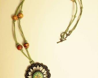 Earthy Green Tassel Necklace