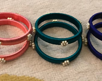 Silk thread bangles with Pearls
