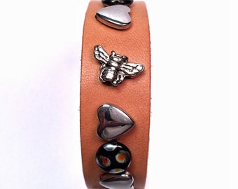 Butterflies and Bees  Leather Cuff