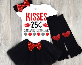 Kisses 25 cent Shirt, Valentines Day Outfit Baby Girl | 1st Valentine's Day outfit | Valentines Day Outfit | My first Valentine's Day outfit