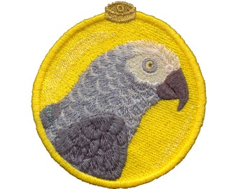 African Grey Parrot Ornament for 4x4 Hoop